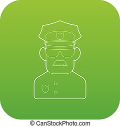 politieagent, vector, groene, pictogram