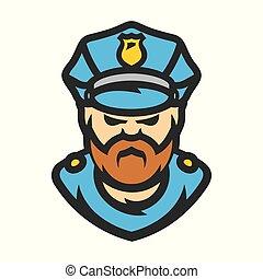 politieagent, vector, illustration., spotprent