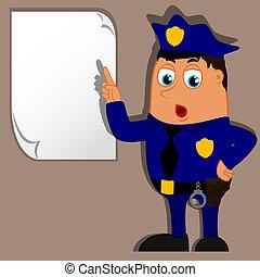 politieagent, vector, leeg