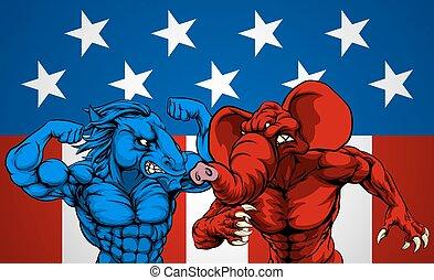 politiek, amerikaan, elefant, ezel, vechten