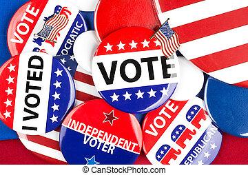 politiek, badge, verzameling