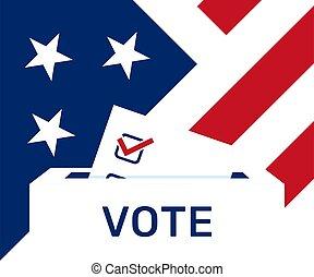 politiek, campagne, ons, paper., elections., stemming, verkiezing, day.