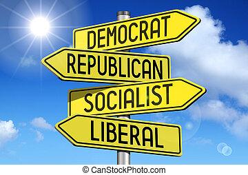 politiek, concept, -, gele, straat-voorteken