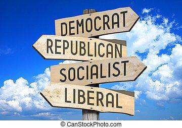 politiek, concept, -, houten, wegwijzer