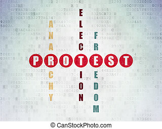 politiek, concept:, protest, in, kruiswoordraadsel