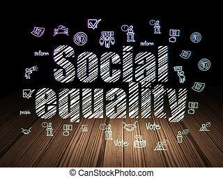 politiek, concept:, sociaal, gelijkheid, in, grunge, donkere kamer