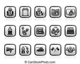 politiek, en, verkiezing, iconen