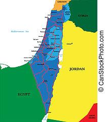politiek, kaart, israël