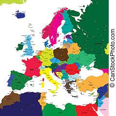 politiek, kaart, van, europa