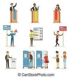 politiek, kandidaten, en, stemming, proces, set, van, democratisch, verkiezingen, themed, illustraties