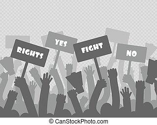 politiek, protest, met, silhouette, protesters, handen, vasthouden, megafoon