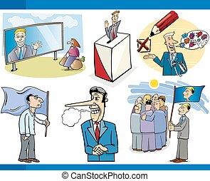 politiek, set, spotprent, concepten