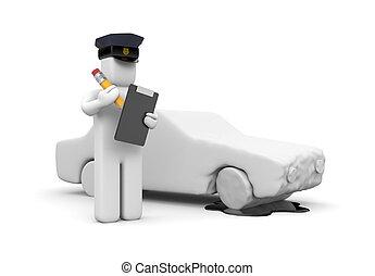 politieman, schrijvende , een, voertuig, ongeluk