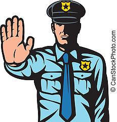 politieman, stoppen, gesturing, meldingsbord