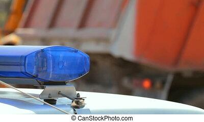 politiewagen, op, ongeluk, bouwterrein