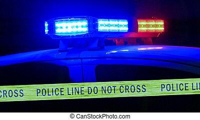 politiewagen, sirene, met, grens, cassette