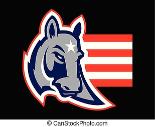 politik, åsna, begrepp, amerikan, illustration
