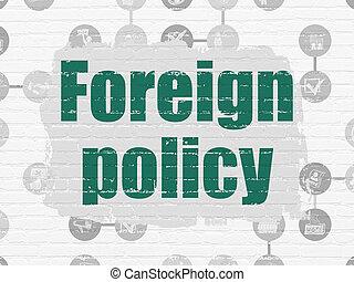 politik, concept:, fremde politik, auf, wand, hintergrund