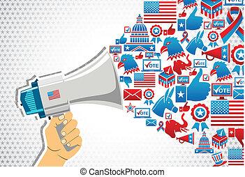 politik, meddelande, elections:, befordran, oss