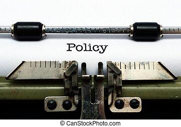 politik, på, skrivmaskin