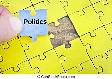 politik, puzzel, wort