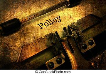 politik, text, på, skrivmaskin