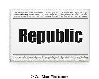 politika, concept:, újság főcím, köztársaság