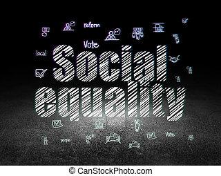 politika, concept:, společenský, rovnost, do, grunge, nesrozumitelný vůle
