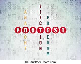 politika, concept:, tiltakozás, alatt, keresztrejtvény