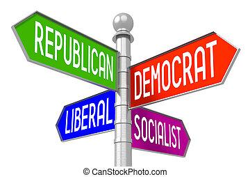 politika, fogalom, -, színes, útjelző tábla