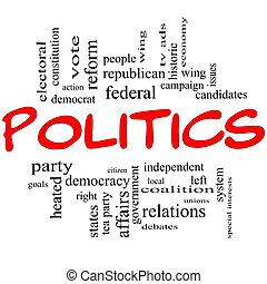 politika, szó, felhő, fogalom, alatt, piros,...