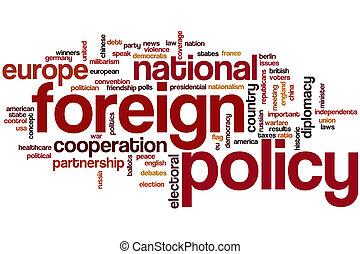 politika, szó, felhő, külföldi