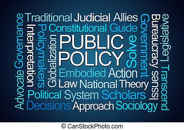 politika, szó, közönség, felhő