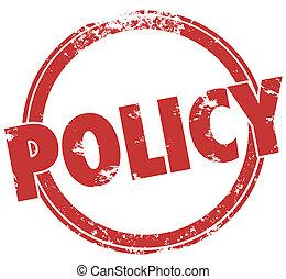 politika, szó, kerek, bélyeg, hivatalos, döntések, irányzóvonal, teljesítés