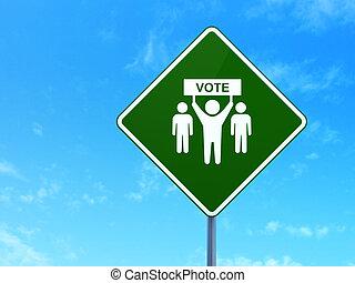 politikai, concept:, választás, kampány, képben látható, út...