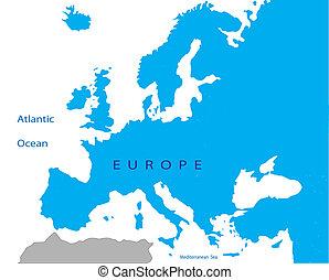 politikai, európa, térkép