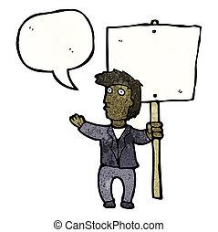 politikai, tiltakozás, karikatúra