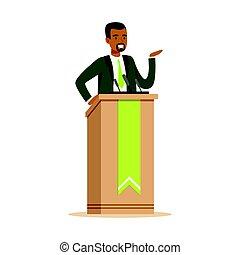 politiker, mann- sprechen, hinten, der, podium, öffentlichkeit sprecher, zeichen, vektor, abbildung