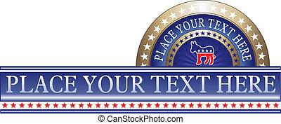 politique, étiquette, démocrate