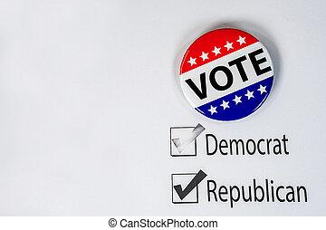 politique, bouton, vote, vote