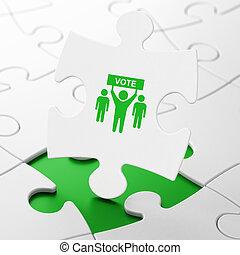 politique, campagne, puzzle, fond, élection, concept: