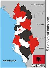 politique, carte, albanie