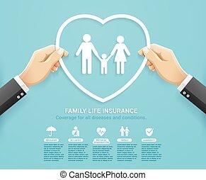 politique, coeur, services, forme, famille, coupure, illustrations., tenue, conceptuel, assurance, main, style., papier, design., protéger, vecteur
