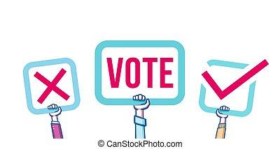 politique, concept, gens, vote., vote, élections, illustration, vecteur