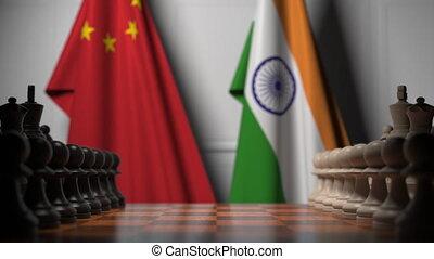 politique, drapeaux, jeu, concurrence, apparenté, contre, animation, échecs, india., porcelaine, 3d