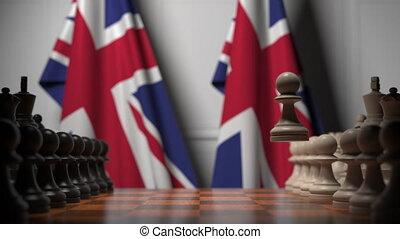 politique, drapeaux, jeu, concurrence, apparenté, contre, grand, animation, britain., échecs, 3d