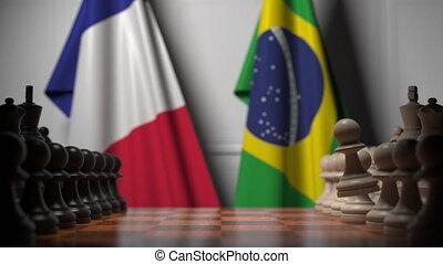 politique, drapeaux, jeu, concurrence, apparenté, france, contre, brazil., animation, échecs, 3d