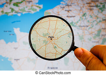 politique, france., map., paris