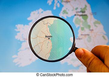 politique, map., dublin, ireland.