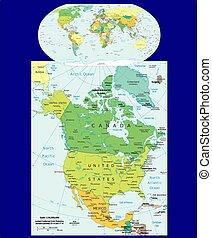 politique, mondiale, amérique, nord, carte